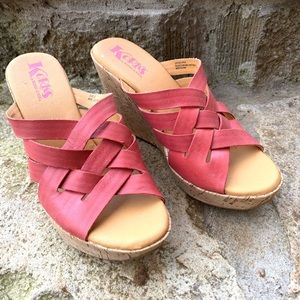 KORKS by Kirk-Ease pink leather wedge sandals
